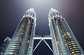 Petronas Towers at night, 452 Meters high, architect César Antonio Pelli,  Kuala Lumpur, Malaysia, Asia