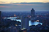 Nightfall over South Sathon, Bangkok Thailand, Bangkok, Thailand, Asia