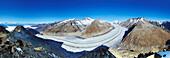 Panorama of glacier Grosser Aletschgletscher with Wallis Alps, Mont Blanc, Aletschhorn, Jungfrau, Moench, Eiger, Wannenhorn, Oberaarhorn, from Eggishorn, UNESCO World Heritage Site Swiss Alps Jungfrau - Aletsch, Bernese Alps, Valais, Switzerland, Europe