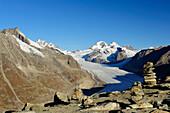 Glacier Grosser Aletschgletscher with Jungfrau, Moench and Eiger, from Eggishorn, UNESCO World Heritage Site Swiss Alps Jungfrau - Aletsch, Bernese Alps, Valais, Switzerland, Europe