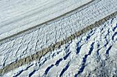 Crevasses at glacier Grosser Aletschgletscher, Grosser Aletschgletscher, UNESCO World Heritage Site Swiss Alps Jungfrau - Aletsch, Bernese Alps, Valais, Switzerland, Europe