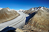 Glacier Grosser Aletschgletscher with Jungfrau, Moench, Eiger, Gruenhorn and Wannenhorn, from Eggishorn, UNESCO World Heritage Site Swiss Alps Jungfrau - Aletsch, Bernese Alps, Valais, Switzerland, Europe