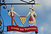 Signboard vineyard, lake Geneva, Lavaux Vineyard Terraces, UNESCO World Heritage Site Lavaux Vineyard Terraces, Vaud, Switzerland, Europe