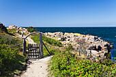 Wanderweg mit Tor in der Küstenlandschaft an der Nordspitze von Bornholm mit Kartoffelrosen, Hammer Odde, Hammeren, Bornholm, Dänemark, Europa