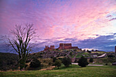 Afterglow over the ruins of the castle Hammershus, Bornholm, Denmark, Europe