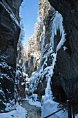 Icicles in Partnachklamm gorge near Garmisch Partenkirchen, Upper Bavaria, Germany, Europe