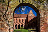 View through a gate at Chorin monastery, cistercian monastery, Chorin, Uckermark, Brandenburg, Germany, Europe