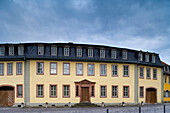 Goethehaus at Frauenplan under clouded sky, Weimar, Thuringia, Germany, Europe