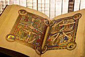 Opened book at Herzog August Bibliothek, Wolfenbüttel, Lower Saxony, Germany, Europe