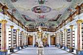 Interior view of the old library, Ottobeuren Abbey, Ottobeuren, Bavaria, Germany, Europe