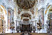Interior view of Basilica St. Alexander and St. Theodor, Ottobeuren Abbey, Ottobeuren, Bavaria, Germany, Europe