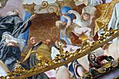 Ceiling fresco of Weltenburg monastery, Benedictine abbey, Weltenburg, river Danube, Bavaria, Germany, Europe