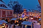 Christmas Fair in the evening, Brandenburg Street, Potsdam, Brandenburg, Germany