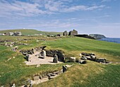JARLSHOF SHETLAND Jarlshof iron age and Pict village ruins Norse Great hall and Sumburgh Head