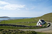 ROUSAY ORKNEY Fishermans white washed croft cottage country road Eynhallow Sound