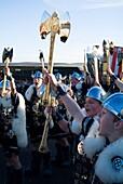 Up Helly Aa procession LERWICK SHETLAND Cheering Junior Guizer Jarl Viking squad