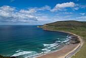 Rackwick Bay HOY ORKNEY Sandy coastal beach bay blue sky surf waves