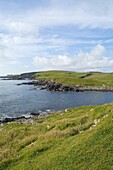 Bay of Okraquoy CUNNINGSBURGH SHETLAND East coast of South Mainland early morning blue skies white clouds