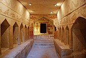 Israel, Lachish Region, interior of Columbarium cave at Tel Maresha in the Beit Guvrin National park dug in the third century BCE as quarries, burial grounds, storerooms, workshops, hiding places and spaces for raising doves