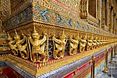 Gold ornamental patter statuettes Temple of the Emerald Buddha The Grand Palace Bangkok Thailand