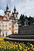 Jan Hus statue and Tyn Church Týnský chrám Old Town Square, Prague Czech Republic