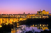 Cordoba Andalusia Spain: Mosque Cathedral and Roman Bridge, as seen from Guadalquivir river