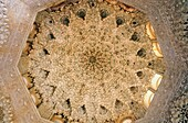 Detail of dome in Sala de Dos Hermanas two sisters room Palace of the Lions Nazaries palaces Alhambra, Granada Andalusia, Spain