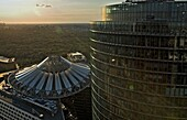 Tiergarten, Cupola of Sony Center, and to the right Deutsche Bahn building Berlin Germany