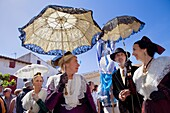 women in traditional dress Procession during annual gipsy pilgrimage at Les Saintes Maries de la Mer may, Camargue, Bouches du Rhone, France