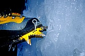 Greg Moore, gets the point with his crampon while ice climbing in the Snake River Canyon near the city of Twin Falls, Idaho