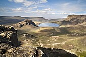 Lake Garba Guracha, which is an truly alpine lake, from Sanetti Plateau The Bale Mountains National Park is located in the southern highlands of Ethiopia The Bale Mts are reaching heights of over 4300 m and are of vulcanic origin The landforms are comp
