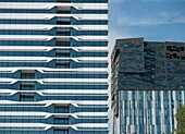 Modern high rise office buildings in Mahler4 section of Zuidas new commerical property development in Amsterdam Netherlands