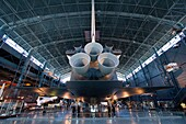 The space shuttle Enterprise at the Smithsonian's National Air and Space Museum's Steven F Udvar-Hazy Center