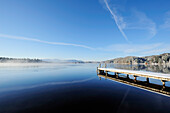 Snow covered landing stage at lake Kirchsee, lake Kirchsee, Upper Bavaria, Bavaria, Germany, Europe