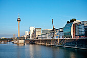 Media Harbour and television tower in the sunlight, Düsseldorf, Duesseldorf, North Rhine-Westphalia, Germany, Europe