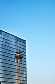 Reflection of television tower on glass facade, Media Harbour, Düsseldorf, Duesseldorf, North Rhine-Westphalia, Germany, Europe