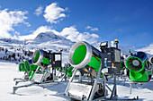 Snowguns in winter landscape, Diavolezza cablecar, Berninapass, Bernina range, Upper Engadin, Engadin, Grisons, Switzerland, Europe