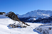 Village Grevasalvas with snow-covered lake Silser See, Piz Grevasalvas, Albula range, Upper Engadin, Engadin, Grisons, Switzerland, Europe
