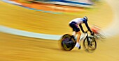 Riders compete in men's individual pursuit cycling track race event on day eight of the 2008 Beijing Olympics in China.