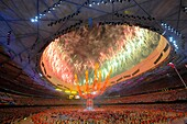 Fireworks explode during the closing ceremony for the Beijing 2008 Olympics Games at the National Stadium, China.