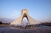 The Azadi Tower, or King Memorial Tower, marks the entrance to the metropolis, Teheran, Iran
