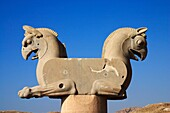 Twin headed griffin-shaped capital at Persepolis archeology site, Iran