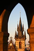 Tower of Church of Our Lady before Týn in the Old town Stare Mesto, Prague, Czech Republic