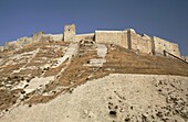 The ancient walls of the citadel of Aleppo, Syria