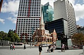 King George Square and Albert Street Uniting Church in Brisbane, Queensland, Australia
