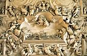Detail in the Oratorio del Rosario di Santa Zita, Palermo, Sicily, Italy Stucco of Battle of Lepanto by Giacomo Serpotta