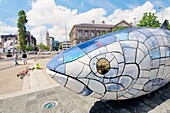 The 'Big Fish' sculpture by John Kindness on Donegall Quay, Belfast waterfront, marks the return of salmon to the River Lagan