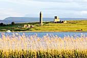 Devenish Island round tower and Celtic Christian monastic ruins Lower Lough Erne, near Enniskillen, County Fermanagh, Ireland