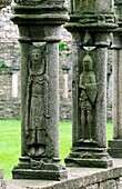 Jerpoint Abbey, County Kilkenny, Ireland Stone carved figures on cloister pillars