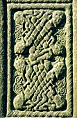 Shaft panel detail of the Tall Cross also called Muiredach's Cross at Monasterboice, County Louth Celtic interlace design